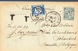 MONACO - 1922 - TIMBRE NON VALIDE : CARTE POSTEE EN FRANCE Pour BRUXELLES (BELGIQUE) Avec TAXE - Storia Postale