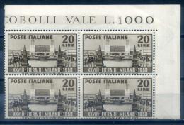 ITALY - 1950 MILANO FAIR, BLOCK OF 4 - 1946-60: Ungebraucht