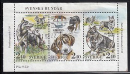 Sweden Used Scott #1765 Booklet Pane Of 3 2.40k Dogs - Large Spitz, Fox Hound, Small Spitz - Suède