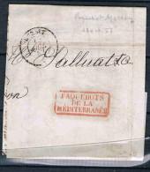 FRANCE MARCOPHILIE   Lettre Transportée Par Le Paquebot Mersey 15 Aout 1857 - Marcophilie (Lettres)
