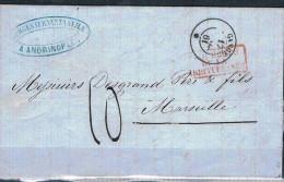 FRANCE MARCOPHILIE   Lettre Transportée Par Le Paquebot   Gange  1861 - Marcophilie (Lettres)