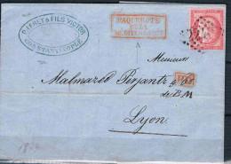 FRANCE MARCOPHILIE   Lettre Transportée Par Le Paquebot  De La Méditerranée 1873 - Marcophilie (Lettres)