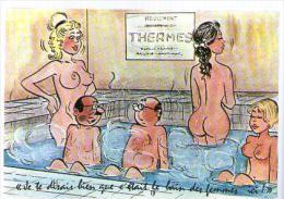Jolie CP Humour Je Te Disais Bien Que C'était Le Bain Des Femmes Ici - Thermes Bain Curiste Femme Nue Poitrine Nudité .. - Humour
