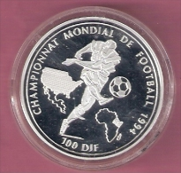 DJIBOUTI 100 DIF 1994  SILVER PROOF WORLD CUP FOOTBALL 1994 SCRATCHES ONLY ON CAPSEL
