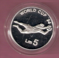 MALTA 5 POUND 1993 SILVER PROOF WORLD CUP FOOTBALL 1994 SCRATCHES ONLY ON CAPSEL