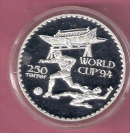MONGOLIE 250 TUGRIK 1994 SILVER PROOF WORLD CUP FOOTBALL 1994 SCRATCHES ONLY ON CAPSEL