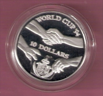 NIUE 10 DOLLARS 1991 SILVER PROOF WORLD CUP FOOTBALL 1994 SCRATCHES ONLY ON CAPSEL