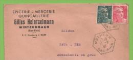 Mothern  11.2.47  Entête:  Épicerie - Mercerie Quincaillerie Gilles Heintzelmann Wintzenbach - Marcophilie (Lettres)