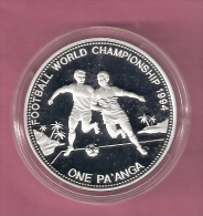 TONGA ONE PA'ANGA 1992 SILVER PROOF WORLD CUP FOOTBALL 1994 SCRATCHES ONLY ON CAPSEL