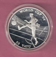 VANUATU 50 VATU 1994 SILVER PROOF FOOTBALL WORLD CUP 1994 SCRATCHES ONLY ON CAPSEL