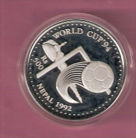 NEPAL 500 RUPEES 1992 SILVER PROOF FOOTBALL WORLD CUP 1994 SCRATCHES ONLY ON CAPSEL