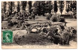 CP, 78, MANTES, Le Jardin De L'Ile-aux-Dames, Le Pont Rustique, Voyagé En 1908 - Mantes La Jolie