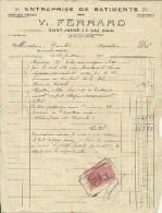 FACTURE  ENTREPRISE DE BATIMENTS V. FERRARD SAINT ANDRE LE GAZ ISERE 1938 - Artigianato