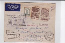 """1946 - ENVELOPPE De CASABLANCA Pour SAÏGON Avec MARQUE POSTE AERIENNE """"REOUVERTURE DE LA LIGNE FRANCE - INDOCHINE"""""""