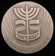 AG01648 ISRAEL´S 25th ANNIVERSARY - MENORAH (Ag 935 48 Gr)  Signes Du Zodiaque Au Revers - Jetons & Médailles