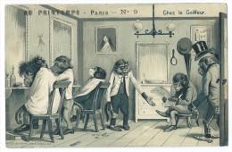 """Singes Humanisés Dans Un Salon De Coiffure - """"Chez Le Coiffeur"""" - Carte Gaufrée - Singes"""