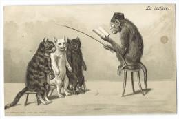 """Chats Et Singe Humanisés - """"La Lecture"""" - Un Singe Faisant La Lecture à 3 Chats Assis Sur Un Banc - Carte Gaufrée - Gatti"""