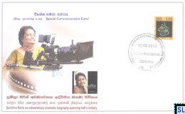Sri Lanka Stamps 2012, Sumitra Peris, Cinema, Special Commemorative Cover - Sri Lanka (Ceylon) (1948-...)