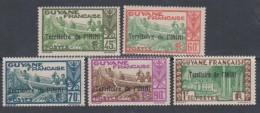 Inini N° 38 / 41 + 45 XX Timbres De Guyane Surchargés :  Les 5 Valeurs  Sans Charnière TB