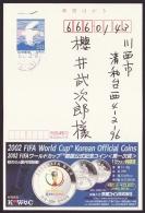 Japan Advertising Postcard, FIFA World Cup Korean Official Coins, Postally Used (jadu476) - Interi Postali
