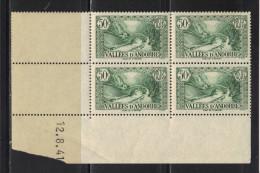 ANDORRE N° 65  **   En Bloc De 4 Coin Daté - Andorre Français