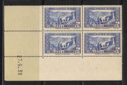ANDORRE N° 84  **  En Bloc De 4 Coin Daté - Andorre Français