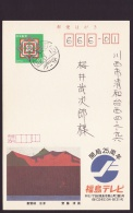 Japan Advertising Postcard, Fukushima TV, Woodcut Kiyoshi Saito, Postally Used (jadu1137) - Cartes Postales