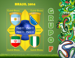 gb14306a Guinea Bissau 2014 Football Soccer Brazil Flag s/s Group F Argentina Bosnia Herzegovina Iran Nigeria