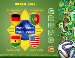gb14307a Guinea Bissau 2014 Football Soccer Brazil Flag s/s Group G Germany Portugal Ghana USA