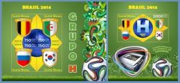 gb14308ab Guinea Bissau 2014 Football Soccer Brazil Flag 2 s/s Group H Belgium Algeria Russia South Korea