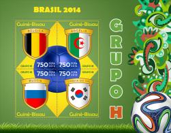 gb14308a Guinea Bissau 2014 Football Soccer Brazil Flag s/s Group H Belgium Algeria Russia South Korea