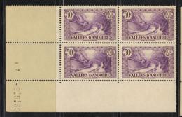 ANDORRE N° 64  **   En Bloc De 4 Coin Daté - Andorre Français