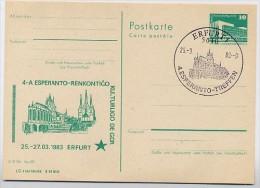 ESPERANTO DOM ERFURT DDR P84-5-83 C17 Postkarte Zudruck Sost. 1983 - Esperanto