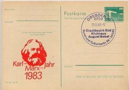 KARL-MARX-JAHR DRESDEN DDR P84-7-83 C19 Postkarte Zudruck Sost. 1983 - Karl Marx