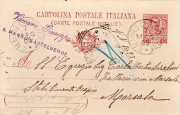 1905  CARTOLINA CON ANNULLO S. MAURO CASTELVERDE PALERMO - Entiers Postaux