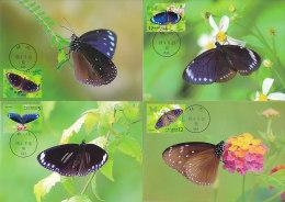 Taiwan 2011 Butterflies 4 Maximum Cards Set - Vlinders
