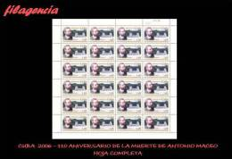 CUBA. PLIEGOS. 2006-35 110 ANIVERSARIO DE LA MUERTE DEL MAYOR GENERAL ANTONIO MACEO - Blocks & Kleinbögen