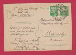 ALLEMAGNE //  POSTKARTE  //  10 PFENNIG VERT  //  IDAR OBERSTEIN POUR BIARRITZ - Cartes Postales - Oblitérées