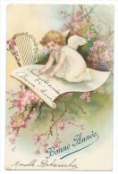 """Jolie Carte Chromo  - Ange - Angelot Posé Sur Une Feuille De Papier Sur Une Branche D'arbre En Fleurs - """"Bonne Année"""" - Anges"""