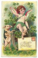 Jolie Carte Chromo - Ange - Angelot Assis Sur Un Fer à Cheval - Entouré De Trèfles à 4 Feuilles - Un Cochon Debout - Anges