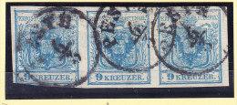 Österreich - 1850 Mi.# 4 Gestempelter 3er-Streifen - Gebraucht