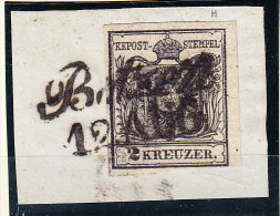 """Österreich - 1850 Mi.# 2 Gestempelt Schreibschrift """"Botzen"""" 12 AUG. Auf Briefstück - Gebraucht"""