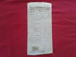 BRASSERIE BASS  & CIE LTD À PARIS (75000). FACTURE DATÉE 1930. - Alimentaire