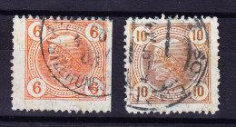 Österreich - 1901 Gestempelte Zeitungsmarken Mit Lackstreifen Mi.# 102+103 Gezähnt - Gebraucht