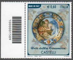 2012 ARTE DELLA CERAMICA CASTELLI  0,60C. CODICE A BARRE MNH** - 6. 1946-.. Repubblica