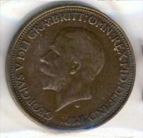 MONNAIE GRANDE BRETAGNE 1/2 PENNY # GEORGE V # 1931 # PETITE TETE - 1902-1971 : Post-Victorian Coins