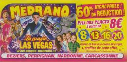 Affichette Bon De Réduction Cirque Medrano - Animaux Elephant Tigre Félin Zèbre Clown - Sonstige