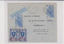 CAMEROUN - 1946 - SERIE DE LONDRES (FRANCE LIBRE) - ENVELOPPE Par AVION De DOUALA Pour REINACH (SUISSE) - Cameroun (1915-1959)