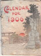 CALENDRIER JAPONAIS  1906 - Sur Papier De Riz ( Langue Anglaise ) Imprimé à Tokio. - Calendriers