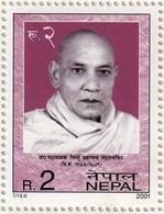 BUDDHIST MONK BHIKSHU PRAGYANANDA RUPEE 2 STAMP NEPAL 2001 MINT MNH - Buddhism
